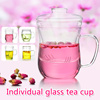 ▶Individual Glass Tea Cup◀GDA- Stylish Round Design & Made of Heat Resistant Exquisite Borosilicate/ Three-piece set (Cover+Filter+Body)