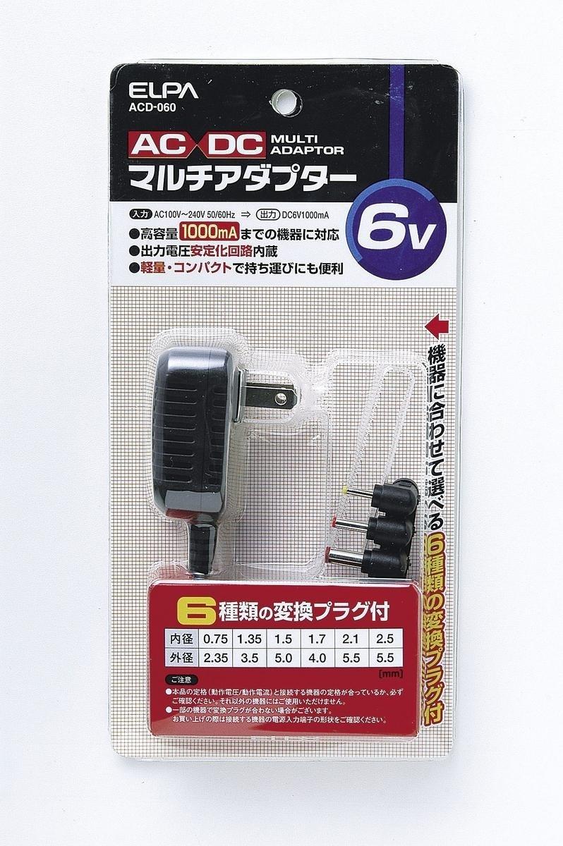 【クリックで詳細表示】ELPA 6V用汎用AC・DCアダプター ACD-060