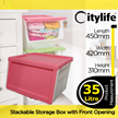 35L STACKABLE STORAGE BOX WITH FRONT OPENING[CITYLIFE BY CITYLONG IS SINGAPORES PLASTIC STORAGE CONTAINER BOX AND LIFESTYLE HOME ORGANIZATION SPECIALISTS]