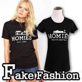 New Fashion womens FAKE Fashion Short Sleeve 100% COTTON  good quailty White/Black Homies Qu women dress / Womens T-Shirt tunic short skirt sexy party /joco / luxury women fashion