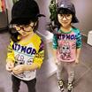 韓国子供服 韓国こども 通園通学 ポップデザイン配色長袖Tシャツ キッズ  女の子 可愛い キュート 7号〜15号