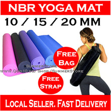 [Local Seller] NBR Yoga Mat /Extra Thick 10/15/20mm / Premium Quality Comfort / Free Bag + Straps