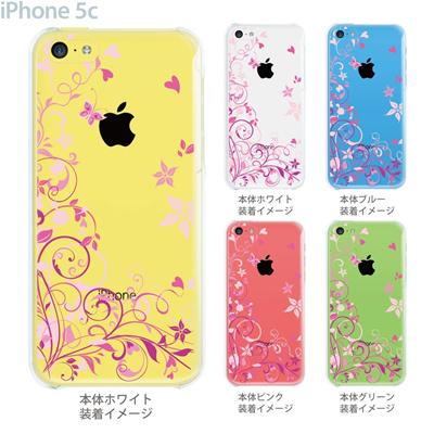 【iPhone5c】【iPhone5cケース】【iPhone5cカバー】【ケース】【クリア カバー】【スマホケース】【クリアケース】【イラスト】【フラワー】【花と蝶】 22-ip5cp-ca0076の画像