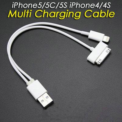 【送料無料】2in1 Lightningコネクタ/Dockコネクタ両用充電可能USBケーブル iphone5/iPhone4S/iPhone3GS/iPad2/iPad mini/iPod touch/iPod nano各種apple製品に対応の画像