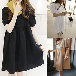 韓国ファッション半袖 Aライン ナチュラル リネン 切替 フレアワンピース tb
