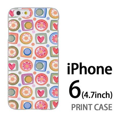 iPhone6 (4.7インチ) 用『0615 花Xハート』特殊印刷ケース【 iphone6 iphone アイフォン アイフォン6 au docomo softbank Apple ケース プリント カバー スマホケース スマホカバー 】の画像