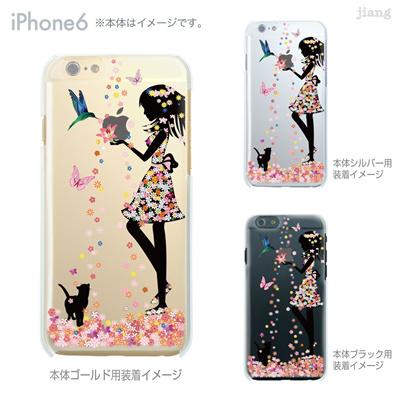 iPhone6 4.7 inch iphone ハードケース Clear Arts ケース カバー スマホケース クリアケース かわいい おしゃれ 着せ替え イラスト フラワーガール 猫 01-ip6-ca0059の画像