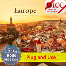 ◆ ICC◆【Europe Sim Card · 15 Days】 ❤6GB 4G/3GData only❤Include Russia/Balkans*❤Plug and Use❤