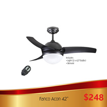 Fanco ACON 42 52 inch Ceiling fan with Light and Remote control.