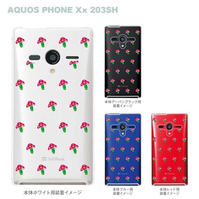 【AQUOS PHONEケース】【203SH】【Soft Bank】【カバー】【スマホケース】【クリアケース】【フラワー】【ピンクきのこ】 22-203sh-ca0017の画像
