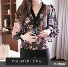 ★ colorful dna ★ Neck Ribbon Chiffon Blouse / Puff sleeve / Korean Fashion / Super Sale / Plus style