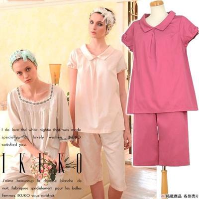 イクコ IKUKO ナイティ パジャマ 綿 サテン 襟付き 半袖 パジャマ VN140Yの画像