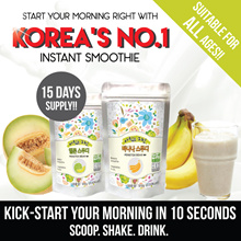 15 DAYS PACK! ✦Korea No.1 Instant Smoothie✦2 Types: Melon✓ Banana✓ ♥Delicious Nutritious♥Real Fruits+Vege❖10-Sec Breakfast Shake❖ Morning Energizer►No Blen