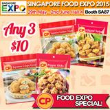 [Singapore Food Expo] CP Food ANY 3 FOR $10! Glazed Teriyaki/ Pepper Kicks/ Jap Crispy Gyoza/ Jap Golden Crispy. Halal. (Frozen)