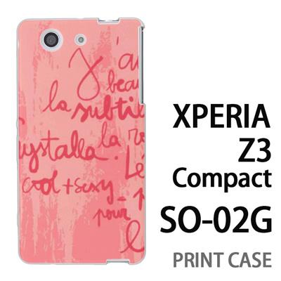 XPERIA Z3 Compact SO-02G 用『0314 落書き英語 ピンク』特殊印刷ケース【 xperia z3 compact so-02g so02g SO02G xperiaz3 エクスペリア エクスペリアz3 コンパクト docomo ケース プリント カバー スマホケース スマホカバー】の画像