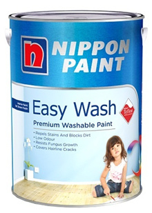 Nippon Paint Easywash Emulsion Paint with Teflon 5 Litre Low Odour Interior Paint for Walls
