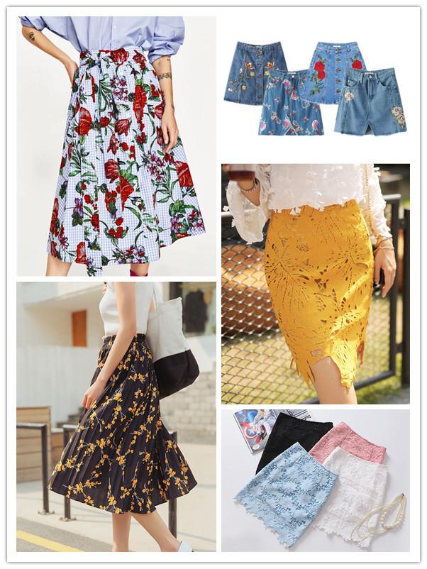 韓国ファッション刺繍入れデニム スカート カットワークレース 立体花柄 スカート ミニスカート プリーツスカート レーススカート ロングスカート