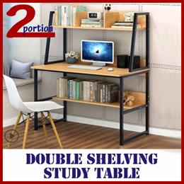 DOUBLE SHELVING COMPUTER STUDY TABLE / SELF DIY / BLACK WHITE FRAME / SHELVING UNIT