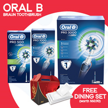 [PnG] 【66% OFF!!! + FREE DINING SET】Oral B Braun Toothbrush - Pro 3000/1000/500