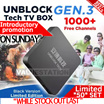[FREE SHIPPING]-UNBLOCK Tech TV BOX BLACK: 1000+ Free Channels - 1 YEAR Quality Guaranteed (Singapore Local ) LIMITED TIME OFFER (黑)