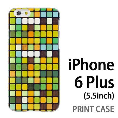 iPhone6 Plus (5.5インチ) 用『No3 モザイク 黄緑』特殊印刷ケース【 iphone6 plus iphone アイフォン アイフォン6 プラス au docomo softbank Apple ケース プリント カバー スマホケース スマホカバー 】の画像