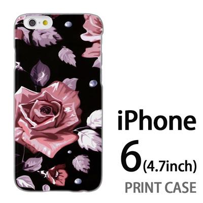 iPhone6 (4.7インチ) 用『0618 夜のピンクバラ』特殊印刷ケース【 iphone6 iphone アイフォン アイフォン6 au docomo softbank Apple ケース プリント カバー スマホケース スマホカバー 】の画像