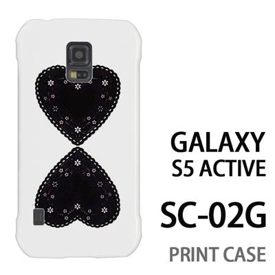 GALAXY S5 Active SC-02G 用『0825 黒ハート』特殊印刷ケース【 galaxy s5 active SC-02G sc02g SC02G galaxys5 ギャラクシー ギャラクシーs5 アクティブ docomo ケース プリント カバー スマホケース スマホカバー】の画像