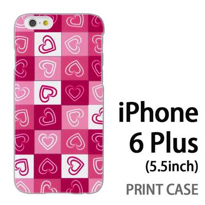 iPhone6 Plus (5.5インチ) 用『No3 モザイクハート ピンク』特殊印刷ケース【 iphone6 plus iphone アイフォン アイフォン6 プラス au docomo softbank Apple ケース プリント カバー スマホケース スマホカバー 】の画像