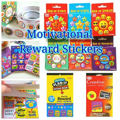 Motivational reward stickers encouragement wordings stars smiley face sticker books