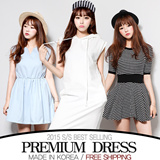 ▶▶Special Offer!All Plat Price◀◀[FREE SHIPPING]Dress♥Made in KOREA~!]★S/S 2015 Best Selling Premium Dress in Korea♥free shipping/lovely Mini Dress/ Dress/loose fit Dress//Mini Dress/Linen Dress/office