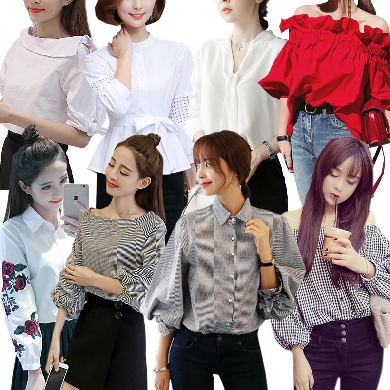 秋の新作!韓国ファッション ブラウス 着痩せ トップス カットソー ニット シャツ ブラウス 半袖 ブラウスフリル 一字襟ブラウス
