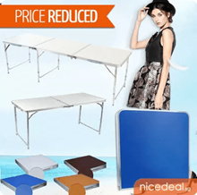 180 x 60 / 120 x 60 / 70 x 50 Portable Foldable Aluminium Table/ wooden table – Lightweight Comes with Carrying Handle. Several Colors Available!