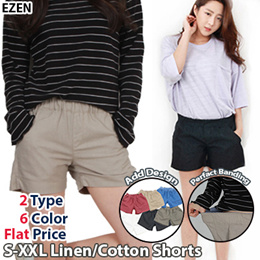 [EZEN][Free shipping over 2Buy] 2Type 6Color Women Casual Linen+Cotton Shorts / Perfact Banding Pants / Plus Size(S~2XL) / Elastic