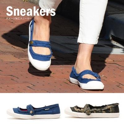 【メーカー処分価格】レディース スニーカー ダメージ加工 シューズ くつ クツ 靴 おしゃれ ファッション 通販の画像