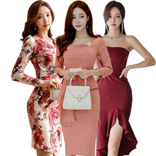 Korean Slim Sexy skirt/evening dress/Banquet dress/Cocktail dress/High-end/Wrap dress/Pack hip dress