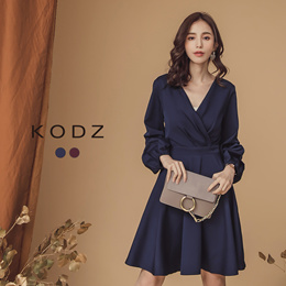 KODZ - Three Quarter Ruched sleeve Dress-181710-Winter