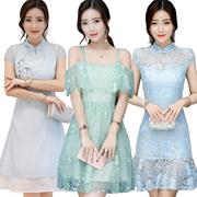 【25/6】Korean style Slim lace Chiffon dress/Plus size Dresses/Beach skirt/Bohemia/floral dress/work