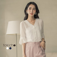 TOKICHOI - Lace Textured Sheer Blouse-181757-Winter