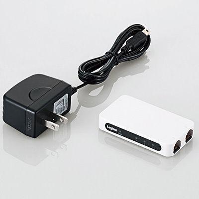 ロジテックイーサネットハブ/超小型/電源外付/3ポート/ホワイトLAN-SW03PSWE