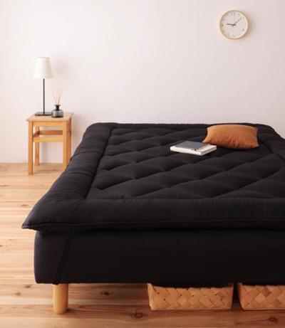 移動ラクラク分割式マットレスベッド専用【専用ボリューム敷きパッドのみ単品販売・ベッド本体なし】シングルブラック