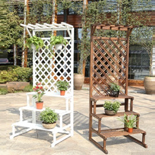 Wooden Flower Stand Plant Pot Rack Gardening Shelf Horticulture Trellis