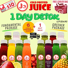 NS50 Special: J3 Cold Pressed Juice - 1 Day Juice Cleanse (6 Bottles 350ml Cold Pressed Juices + 1 Bottle of Nut Milk) + Special Promo: Buy 1 Honey Fizz get 2 FREE !!!