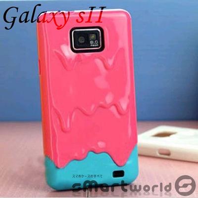 SmartWorld【docomo Galaxy S2 SC-02C ケース】Samsung ギャラクシーS2専用Icecream case Hard Case/ 溶けるアイス STYLEケースカバーギャラクシーS2 ケースユニーク 可愛い 面白い 人気 デザインケースカバー Hard case for docomo galaxyS2(ホットピンク)の画像