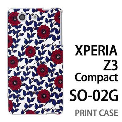 XPERIA Z3 Compact SO-02G 用『0316 蔓フラワー 赤×青』特殊印刷ケース【 xperia z3 compact so-02g so02g SO02G xperiaz3 エクスペリア エクスペリアz3 コンパクト docomo ケース プリント カバー スマホケース スマホカバー】の画像