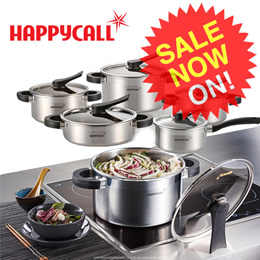 [Happycall]★35% off★ Triple Clay construction method16~24cm Stainless Pots/Can be use for induction