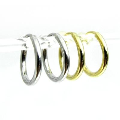 シンプルな地金フープ イヤリング シルバー ゴールド 直径20ミリシンプルで使いやすい!!の画像