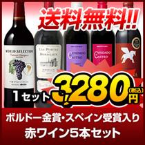 【送料無料】ボルドー金賞・スペイン受賞入り 赤ワイン5本セット
