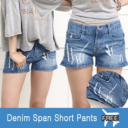 ★ Women Casual/Belted cuff Jeans/Shorts Pants/Denim/Plus Size/S~XXL/Elastic ★
