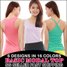 Local Seller SG Delivery! Fast Shipping! Total of 82 Selections in 6 designs and 16 Colors. All Occasions Basic Top Wear Modal Sleeveless Tees Singlet Sport Back Sphagetti Strap/T-shirt