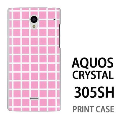AQUOS CRYSTAL 305SH 用『0823 ピンク チェック』特殊印刷ケース【 aquos crystal 305sh アクオス クリスタル アクオスクリスタル softbank ケース プリント カバー スマホケース スマホカバー 】の画像